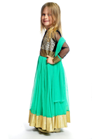 Teal and Gold Silk and Chiffon Girls Dress/Gown