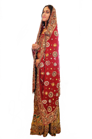 Jeweled Bridal Red and Gold Lehenga