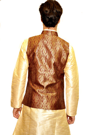 Caramel and Ivory Kurta with Vest and Dhoti Pants