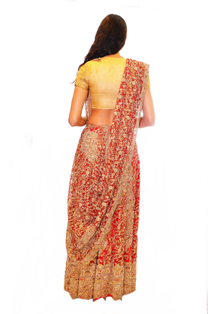 Blood Red with Rare Gold Zari Bridal Lehenga