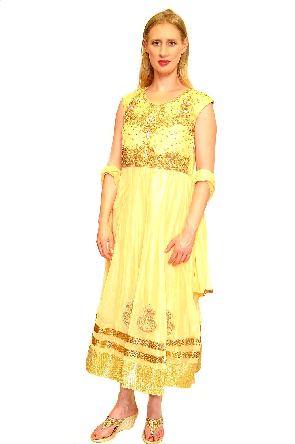Formal Lemon Yellow and Gold Anarkali