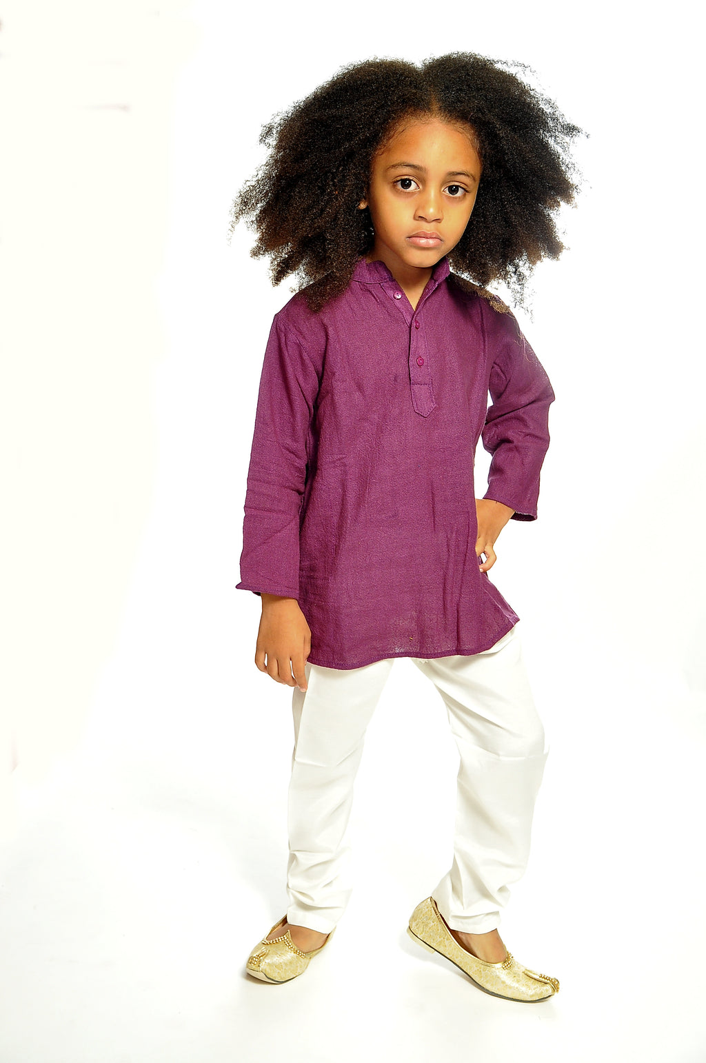 Organic Cotton  Eggplant Purple Kurta