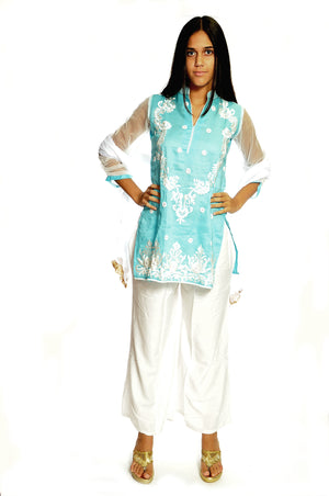 Sky Blue Kurti with White Embroidery