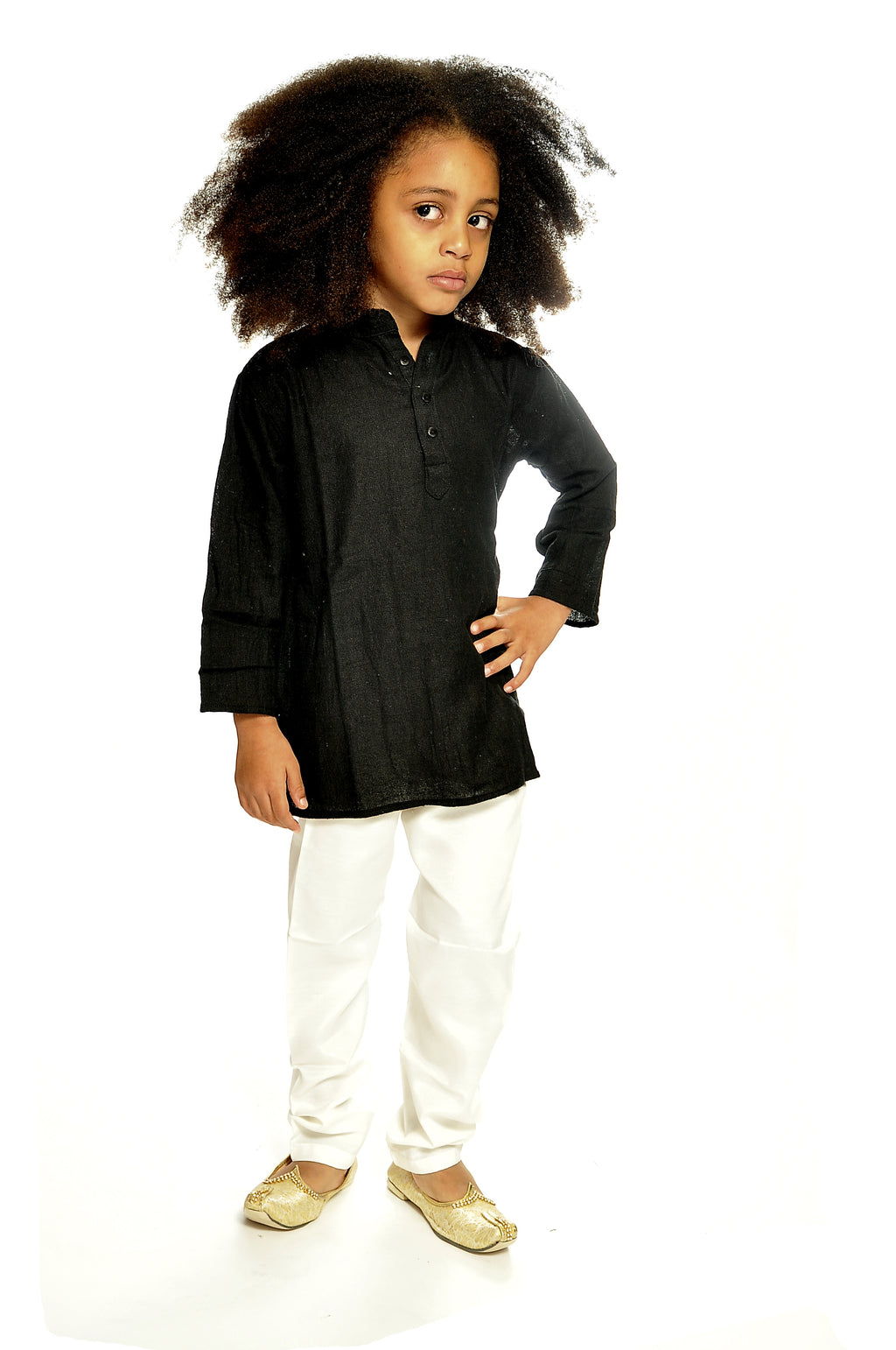 Organic Cotton Children Black Kurta