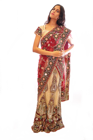 Elegantly Jeweled Maroon/Gold Bridal Lehenga