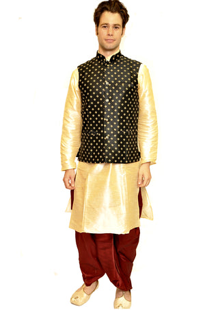 silk Gold Kurta with Modi Vest and Dhoti pants