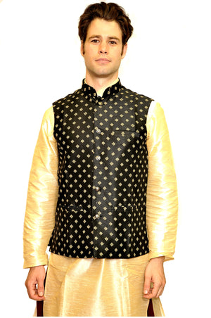 Silk Brocade Black Modi Vest