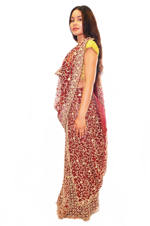 Heritage India Maroon with Gold Zari work Bridal Lehenga