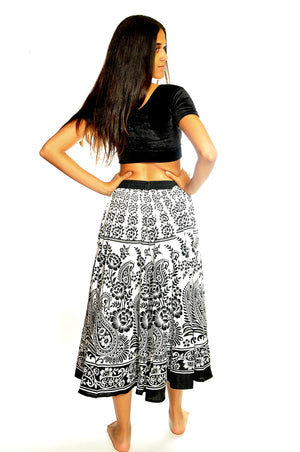 Cotton Black and White Paisley Skirt