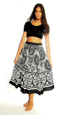 Block Print Black and White Floral Skirt