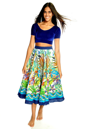 BlockPrint Blue Multi Floral Skirt