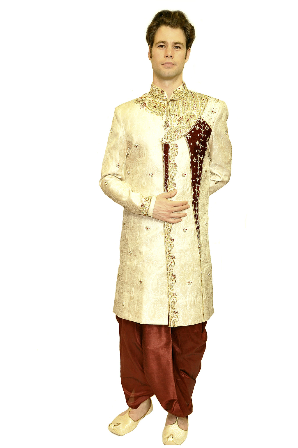 Heritage India Formal Jewel Embroidered with Maroon and Gold work Sherwani