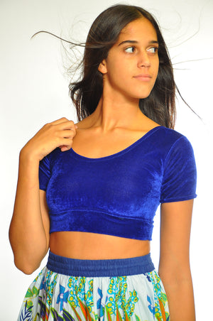 Royal Blue Velvet Crop Top