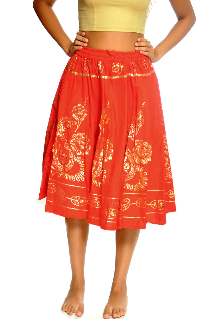 Blood Orange and Gold Skirt
