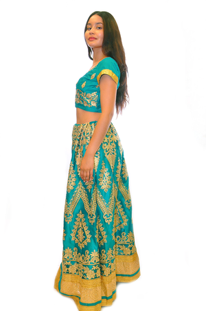 Sea Green With Gold Embroidery Lehenga