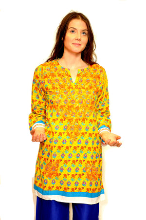 Mustard Cotton Embroidered Floral Kurta