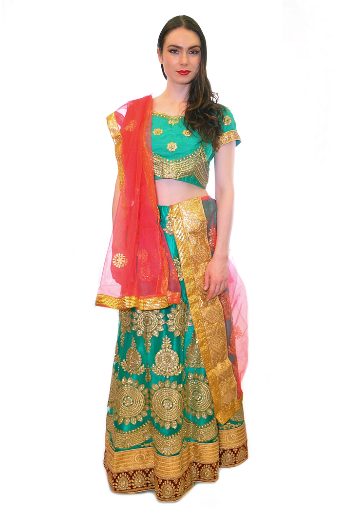 Soft Green with Golden Embroidery Lehenga