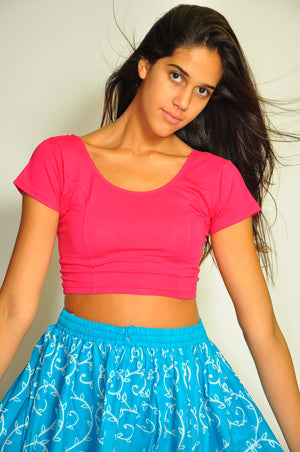 Elegant Plain Cotton Cerise Pink Crop Top