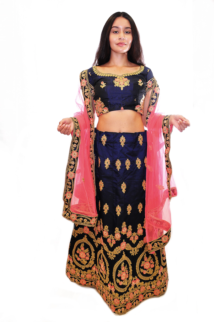 Dark Sacramento Green with gold and Fuchsia Lehenga