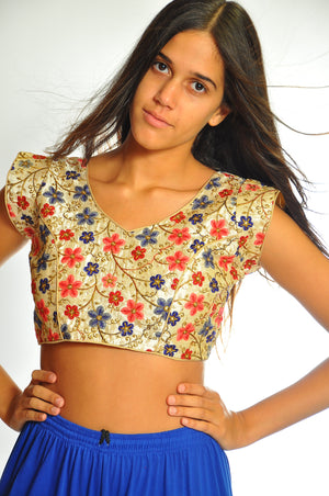 Fancy Floral Red and Blue Multi Embroidered Ivory Crop Top