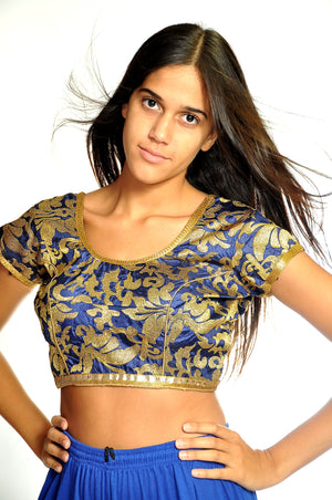 Blue and Gold Embroidered Crop Top