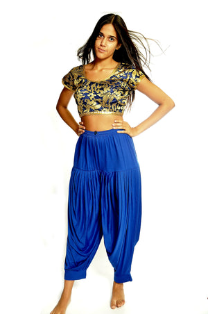 Silk Blue and Gold Brocade Crop Top