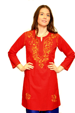 Crimson Cotton Embroidered Kurti