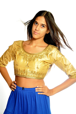 Gold Crop Top with Three Quarter Sleeves and Keyhole