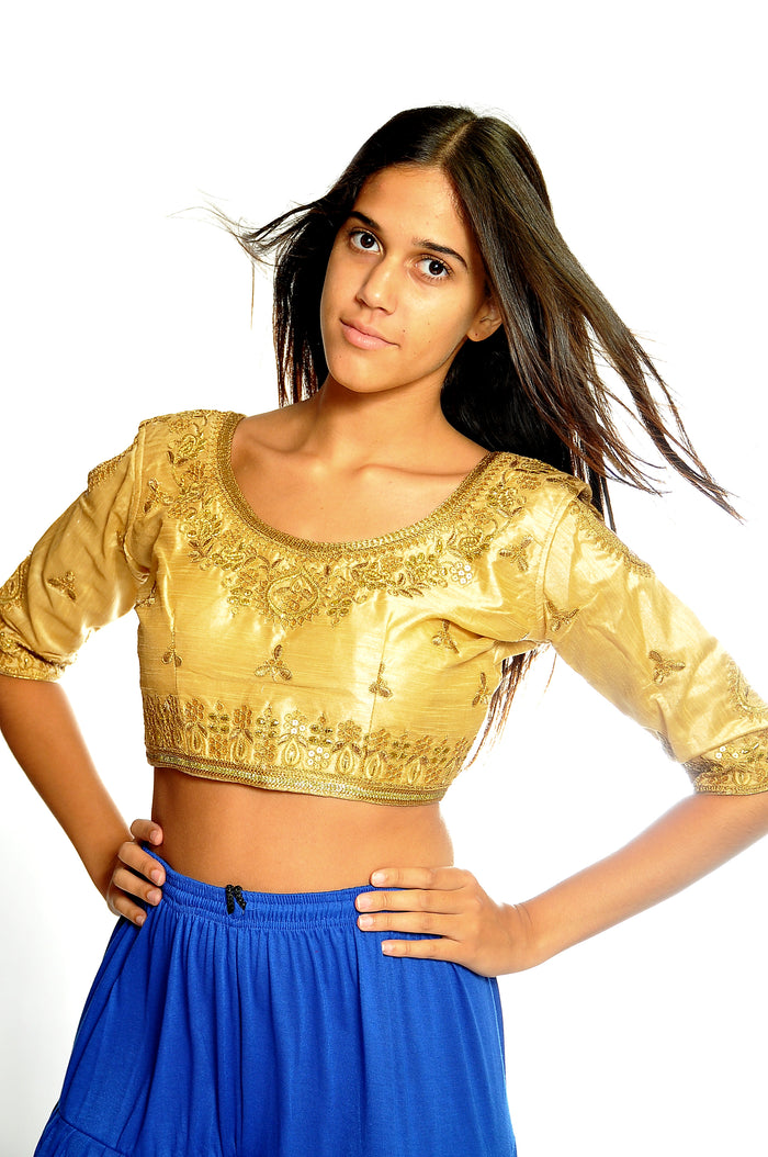 Formal Silk Gold Embroidered Cold Cut Shoulder Crop Top