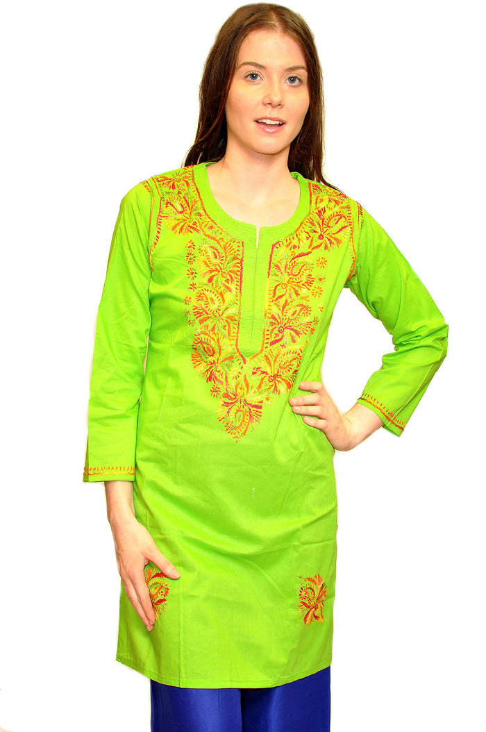 Lime Green Cotton Embroidered Kurti