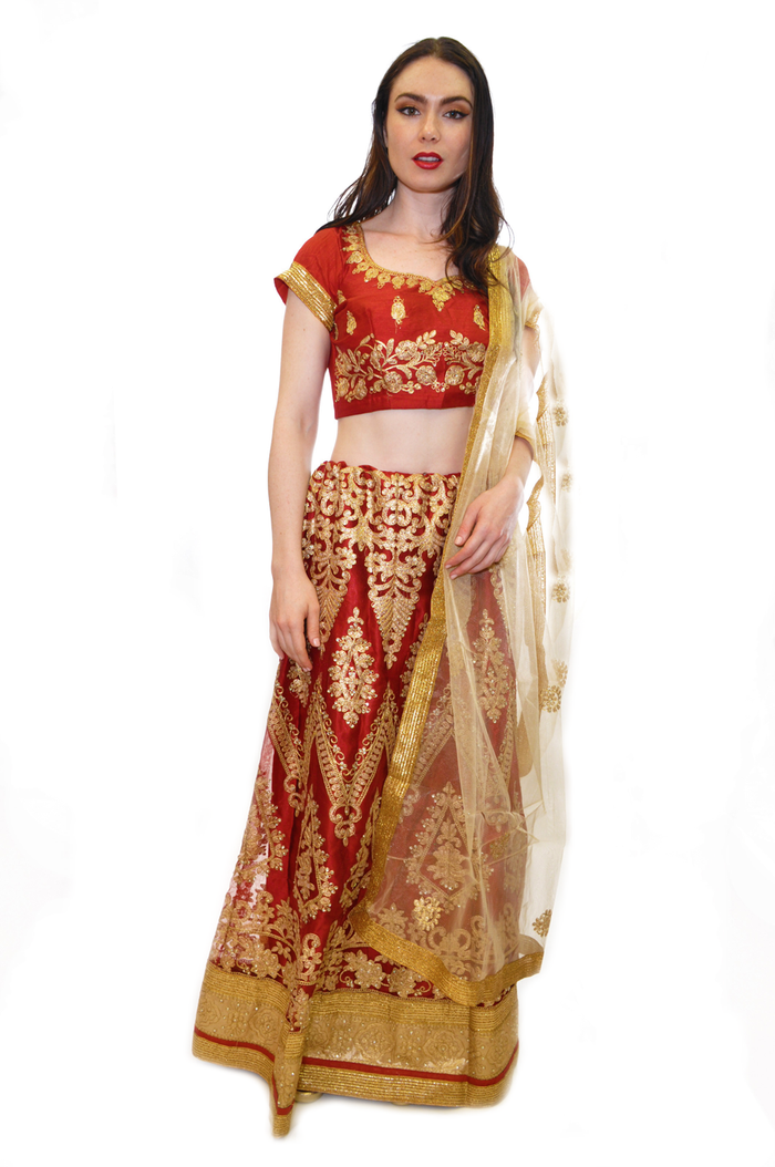 Maroon and Gold Embroidered Lehenga