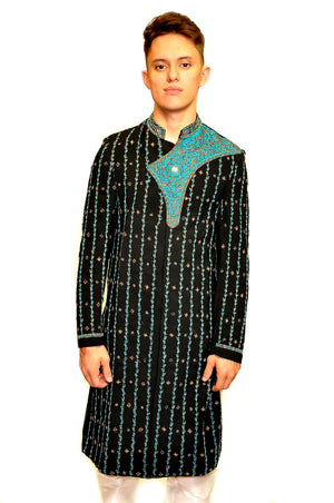 Formal Handmade Black Teal Sherwani