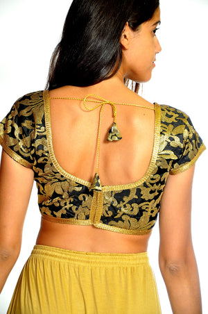 Fancy Black and Gold Crop Top