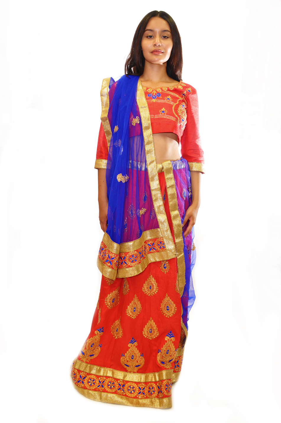 Ruby Orange with Blue and Gold Embroidery Lehenga