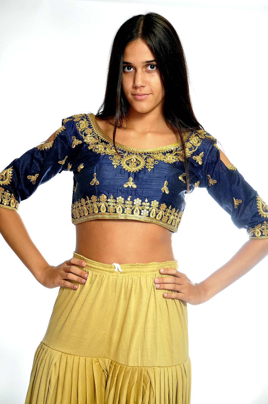 Formal Silk Navy Blue Crop Top with Three Quarter Sleeves