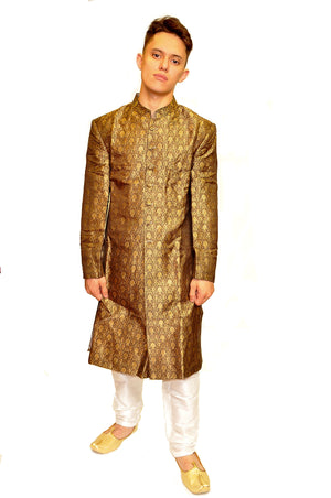 Brown and Gold Sherwani