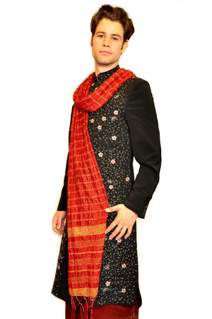 Fancy Black and Gold Embroidered Sherwani