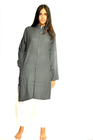 Graphite Organic Cotton Open Kurta