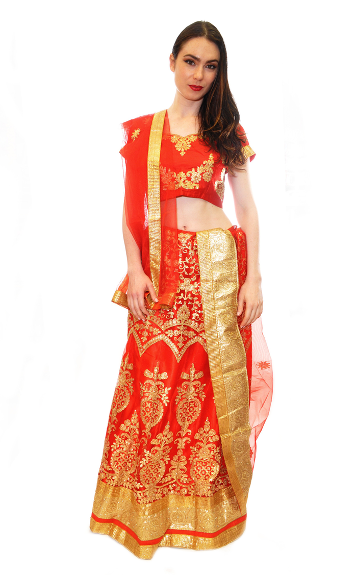 Silk Ruby Red with Golden Embroidery Lehenga