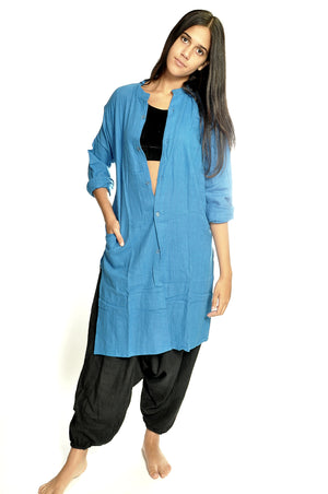 Azure Organic Cotton Open Kurta