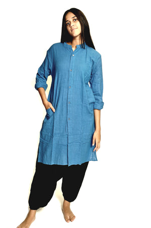 Azure Blue Organic Cotton Open Kurta