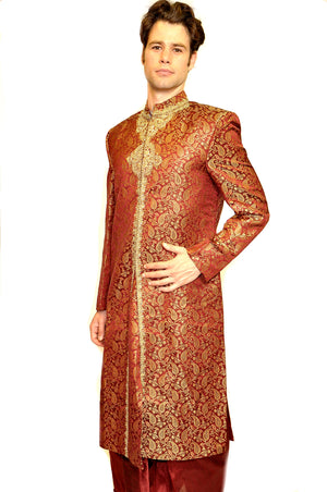 Heritage Formal Maroon and Gold Sherwani