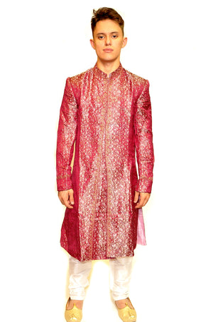 Formal Brocade Rose Sherwani