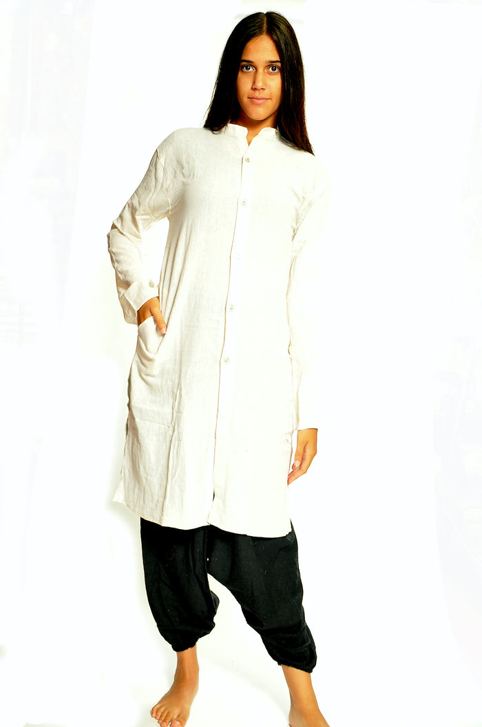 Organic Cotton Open White Kurta