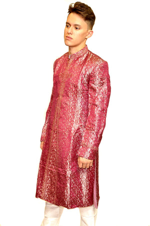 Formal Silk Brocade Light Boysenberry Purple Embroidered Sherwani