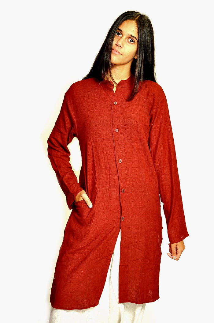 Crimson Red Organic Cotton All Button Down Kurta