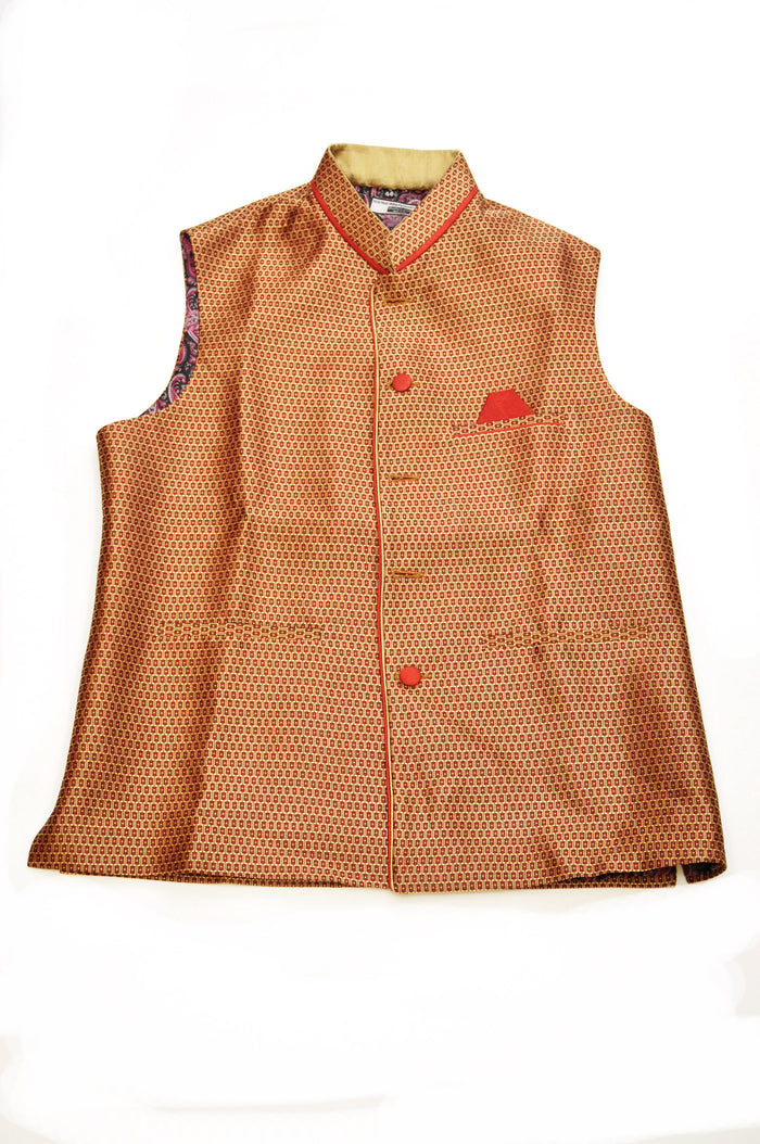 Rust and Tan Silk Vest