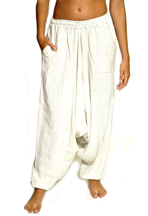 White Cotton Harem Pants