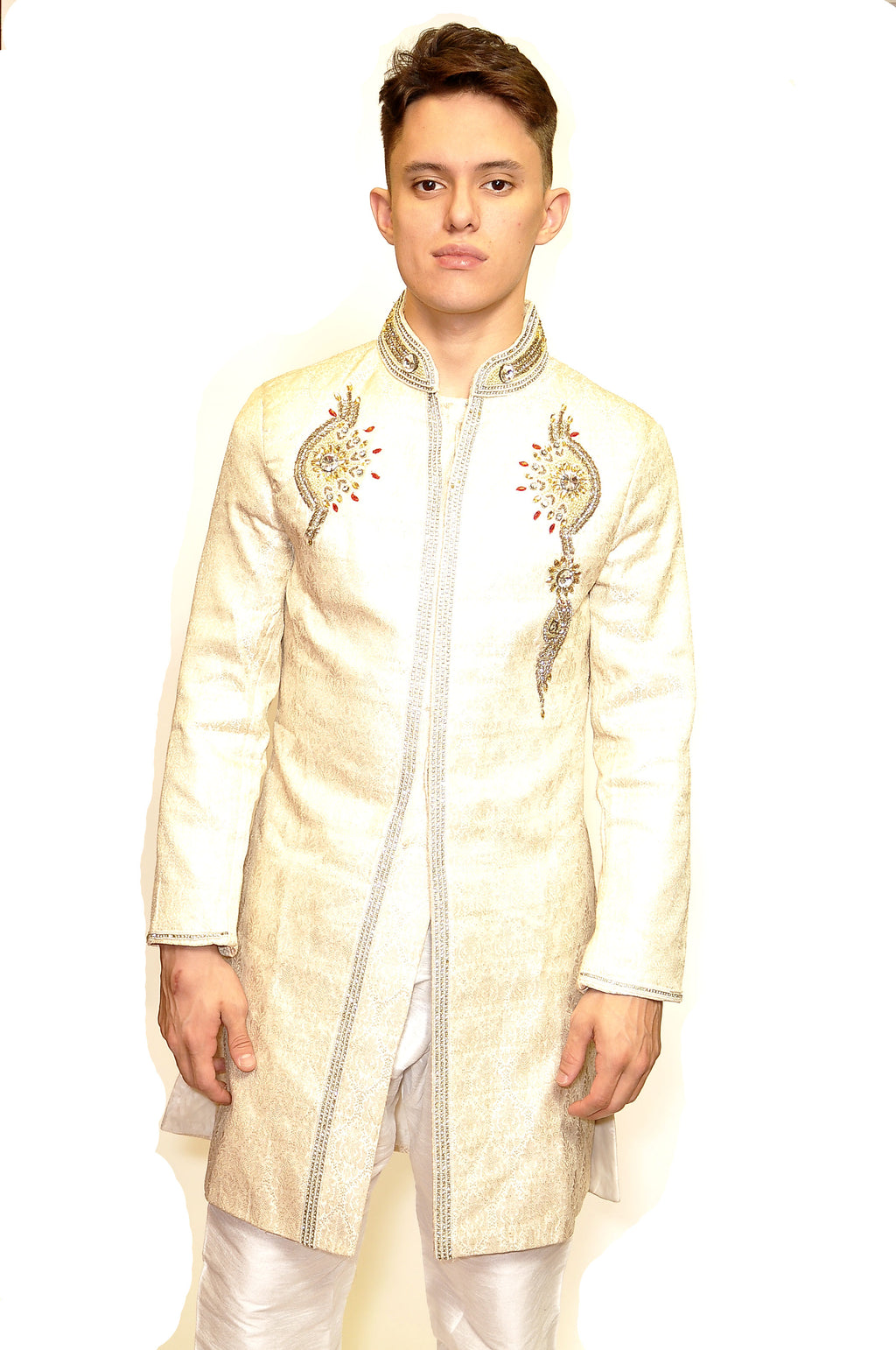 Fancy White and Gold Sherwani
