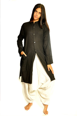 Black Organic Cotton Open Kurta